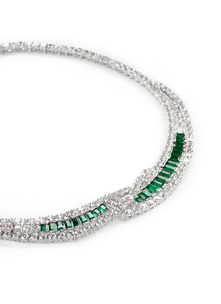 Detail View - Click To Enlarge - CZ by Kenneth Jay Lane - Cubic zirconia crescent collar necklace