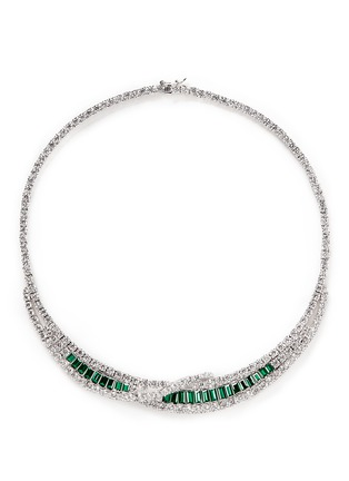 Main View - Click To Enlarge - CZ by Kenneth Jay Lane - Cubic zirconia crescent collar necklace