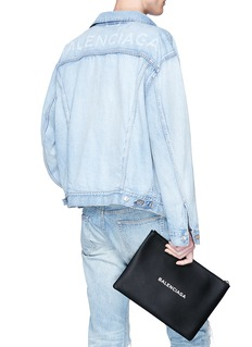 Balenciaga 'Everyday' logo print leather zip pouch