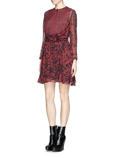 CARVEN Engraving print wrap front silk dress