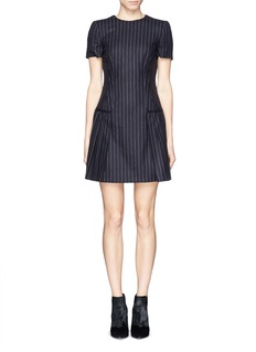 ALEXANDER MCQUEEN Pleat pinstripe wool dress