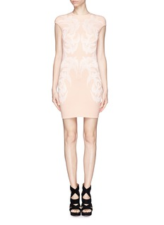 ALEXANDER MCQUEEN Swallow jacquard body-con dress