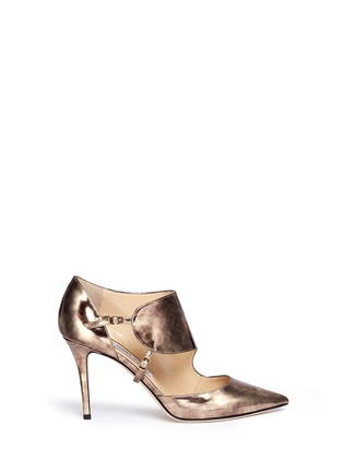 Main View - Click To Enlarge - Jimmy Choo - 'Herald' antique mirror leather side strap pumps