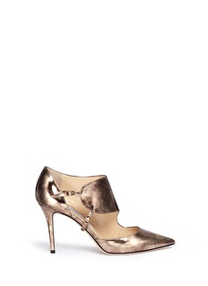 JIMMY CHOO 'Herald' antique mirror leather side strap pumps