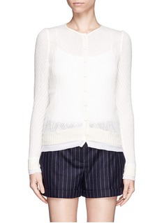 ALEXANDER MCQUEEN Wool-silk open knit cardigan