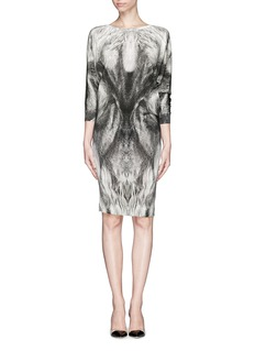 ALEXANDER MCQUEEN Fox print wool dress