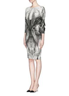 ALEXANDER MCQUEENFox print wool dress