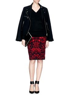 ALEXANDER MCQUEENRose jacquard wool-silk skirt