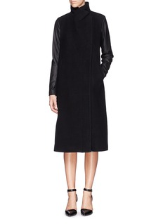 THEORY Goat leather panel wool-cashmere coat