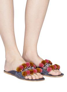 FIGUE SHOES 'Maya Noona' pompom embroidered suede slide sandals