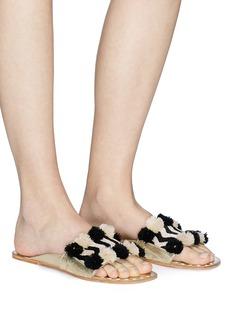 FIGUE SHOES 'River Noona' pompom chevron stripe slide sandals