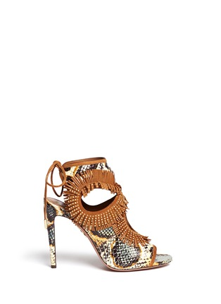 Main View - Click To Enlarge - Aquazzura - 'Sexy Fringe' stud snakeskin sandals
