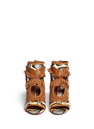Figure View - Click To Enlarge - Aquazzura - 'Sexy Fringe' stud snakeskin sandals