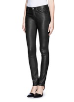 Leather combo stretch jeans