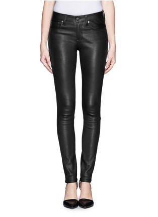 Helmut Lang - Leather combo stretch jeans