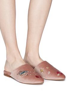 ZYNE 'Lucky II' embellished face velvet slides