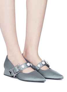 Yuul Yie Faux pearl leather strap satin Mary Jane pumps