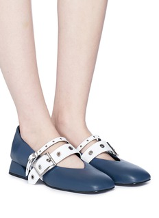 Yuul Yie Colourblock eyelet strap leather Mary Jane pumps