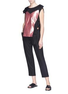 Aalto Sash tie shoulder panel patchwork stripe knit top