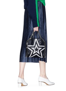 Stella McCartney 'Falabella' mini cutout star patch shaggy deer chain tote