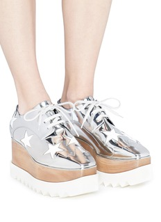 Stella McCartney 'Elyse' star appliqué mirror wood platform Derbies