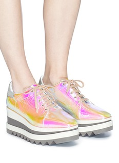 Stella McCartney 'Sneak-Elyse' metallic foil platform Derbies