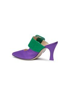 Attico Chloe拼色针扣搭带摩尔纹穆勒低跟鞋