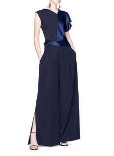 ADEAM Asymmetric satin panel crepe top
