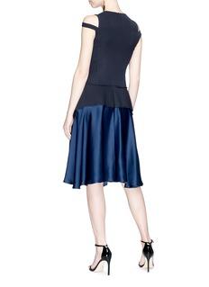 ADEAM Twist scarf front crepe panel satin dress