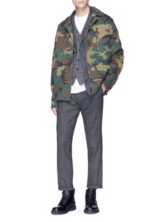 Alpha Industries 'F-2 French Field' slogan camouflage print herringbone coat