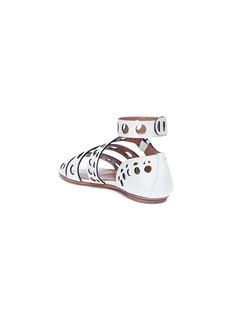 Alaïa Detachable ankle strap lasercut leather sandals