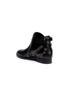 ALAÏA 立体花卉装饰真皮平底靴