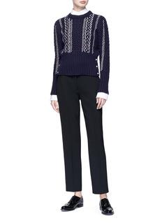 Thom Browne Beaded Merino wool Aran cable knit sweater