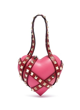 Main View - Click To Enlarge - Valentino - 'Rockstud' harness leather heart minaudière