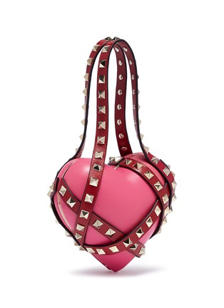 Figure View - Click To Enlarge - Valentino - 'Rockstud' harness leather heart minaudière