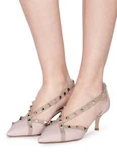 Valentino 'Rockstud' cross strap leather d'Orsay pumps
