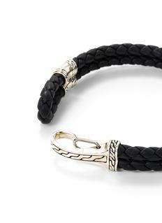 John Hardy Silver braided leather hook bracelet