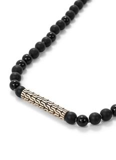John Hardy Chain effect bar charm beaded necklace