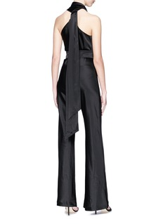Galvan London Twist sash halterneck satin jumpsuit