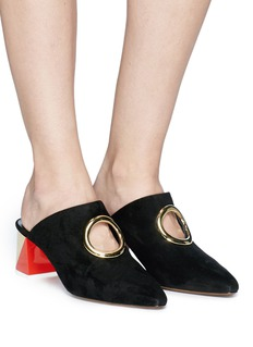 NEOUS 'Pleione' block heel cutout ring suede mules