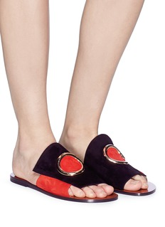 NEOUS 'Two' metal ring colourblock suede slide sandals