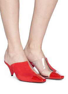 NEOUS 'Psycho' cone heel clear pvc and suede mules