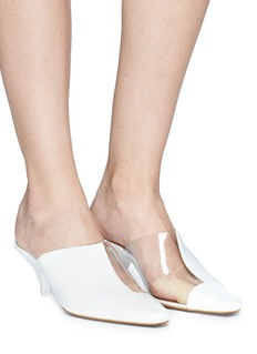 NEOUS 'Psycho' cone heel clear pvc and leather mules