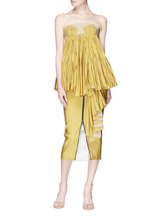 Maticevski 'Immaculate' ruffle drape taffeta zip pencil skirt