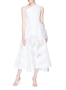 Maticevski 'Honesty' sequin mesh drape panel one-shoulder top