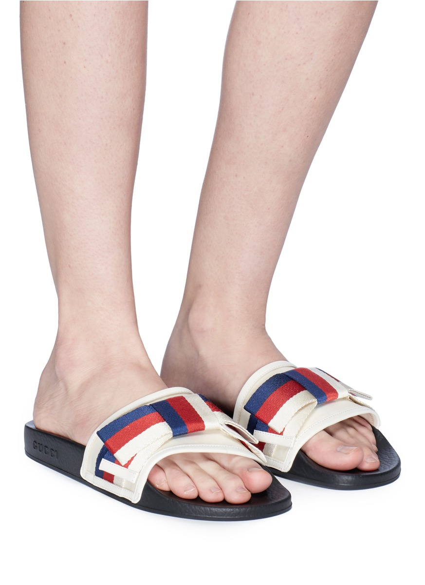 Figure View - Click To Enlarge - Gucci - Sylvie bow satin slide sandals