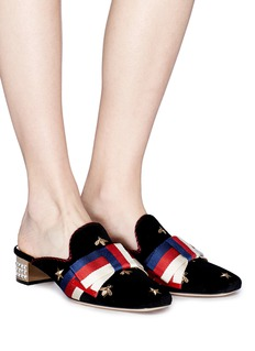 Gucci Sylvie bow embroidered velvet mules