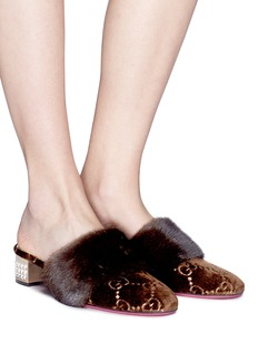 Gucci GG embroidered mink fur trim velvet mules