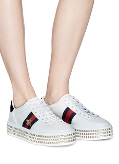 Gucci 'Ace' bee embroidered leather Swarovski crystal platform sneakers