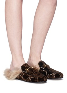 Gucci 'Princetown' GG embroidered lamb fur velvet slide loafers